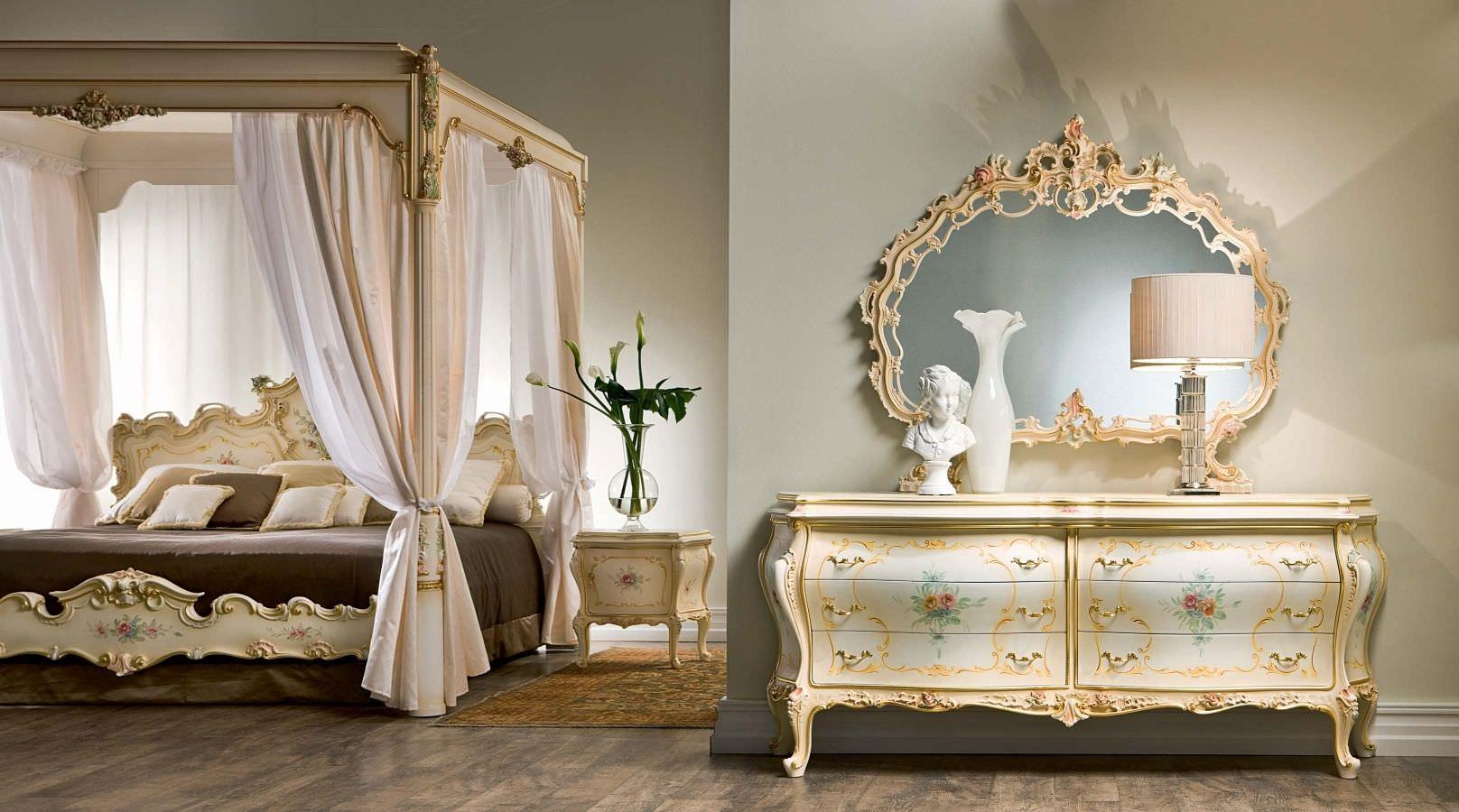 Stile barocco l arte in casa creazioni d 39 arte di - Letto a baldacchino in legno ...