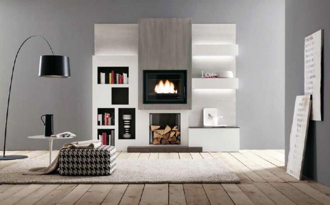 Nicchie per arredare le pareti di casa creazioni d 39 arte - Parete attrezzata moderna con camino ...